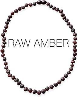 Meraki Adult Amber Necklace - Raw Unpolished Baroque Baltic Amber Necklace | All Natural Pain Relief for Adults to Help Migraines, Sinuses, Arthritis and More | Dark Cherry Color (18 Inches)