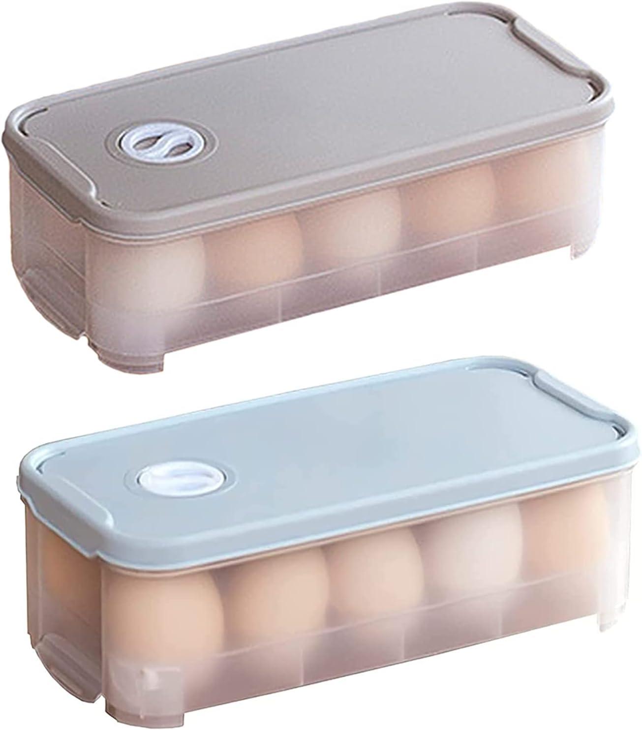 Gloryit 2 Piezas contenedor huevos caja de almacenamiento para huevos soporte portátil para huevos,Huevera para de plástico con tapa para Aplicar para Nevera Senderismo Acampada Picnic Aire Libre