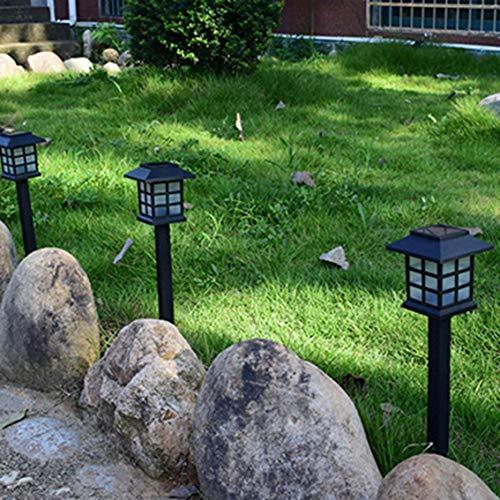 Led-tuinverlichting op zonne-energie, met led-zuilen, decoratieve palen, lantaarn, paallamp, padverlichting, tuinverlichting, landschapsverlichting, terras, afdekking, wit