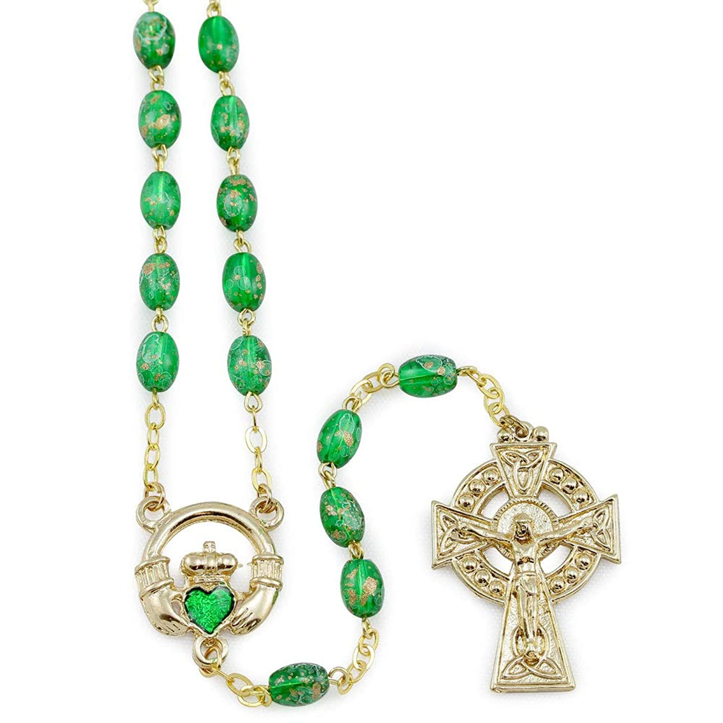 Irish Claddagh Rosary with Green Oval Beads and Celetic Cross