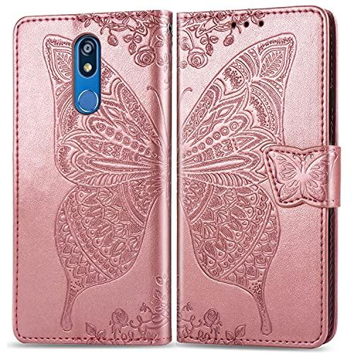 Teléfono Flip Funda Funda de billetera for LG K40, Caja de la cartera de la billetera de la banda de parachoques a prueba de choques / correa de muñeca / funda floral mariposa patrón cartera Tapa tras