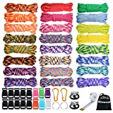 WEREWOLVES 550 Paracord Bracelet Kit - Survival Parachute Cord DIY Weaving Craft Tool Kit with Buckles, Key Rings, Carabiner, Whistle, Soft Tape Measure (GZ - 240 FT)