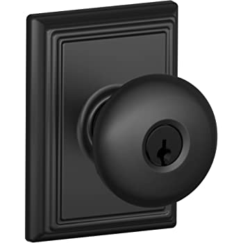 Schlage F51a Ply Add Keyed Entry Plymouth Door Knobset With Decorative Addison R Matte Black Amazon Com