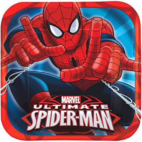 Spidey-Cool Spider-Man Birthday Party Square Luncheon Plates Tableware, Pack Of 8, Red/Blue , 9