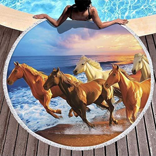 Gamoii - Toalla de playa redonda con borlas para niños, mujer, viajes, meditación, poliéster, blanco, 150 cm