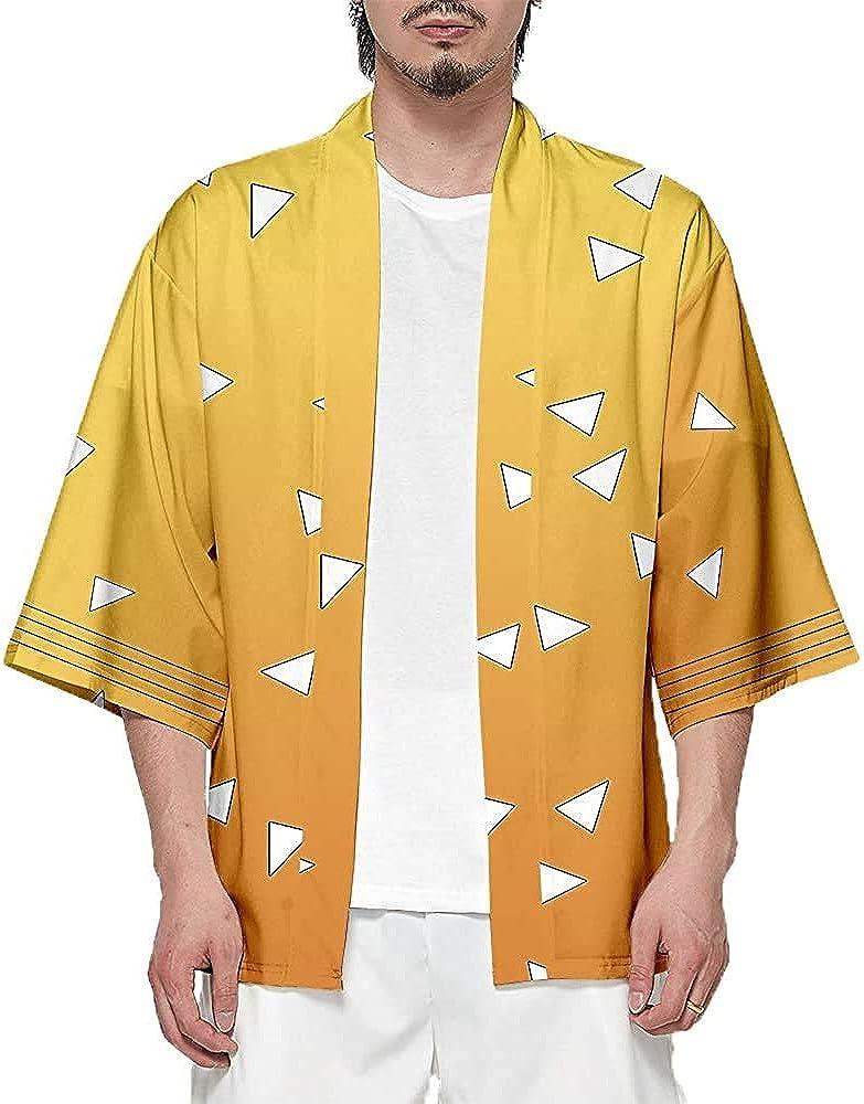 YEOU Novelty Japanese AnimeCosplay Kimono Cardigan Jacket and Kimetsu no Yaiba Boy's Open Front Coat: Clothing, Shoes & Jewelry