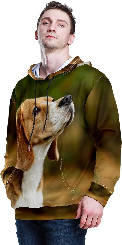 Men's Sport Hoodie Cute Big Ears Dog Puppy Looking Around Big and Tall Hoodies for Men Women Oversized Hooded Sweatshirt Hip Hop Pullover Hoodie Midweight Hood for Boys Girls