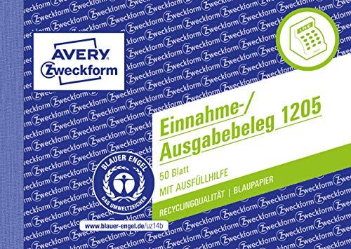 AVERY Zweckform 1205 Einnahme-/Ausgabebeleg (A6 quer, Recycling-Papier mit 1Blatt Blaupapier, von Rechtsexperten geprüft für Deutschland zur ordnungsgemäßen, 50 Blatt) weiß