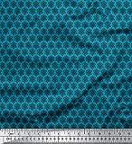 Soimoi Blau Baumwolle Batist Stoff Schneeflocken Blumen-