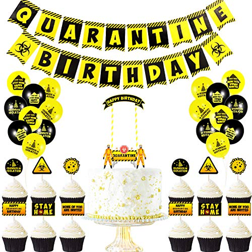 Zonon 48 Pieces Quarantine Party Decorations Quarantine Birthday Supplies Include Quarantine Birthday Banner, Quarantine Cake Topper Cupcake Toppers and Balloons, Yellow and Black