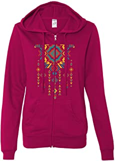 Native American Necklace Ladies Lightweight Fitted Zip-Up Hoodie