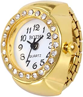 Golden Finger Ring Watch for Women Girls Dial Quartz Analog Watch Elastic Bands Novelty Unique Creative Jewelry Gift Idea