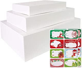 12 White Gift Wrap Boxes with Lids for wrapping Large Clothes and 80 Count Foil Christmas Tag Stickers (Assorted size for ...