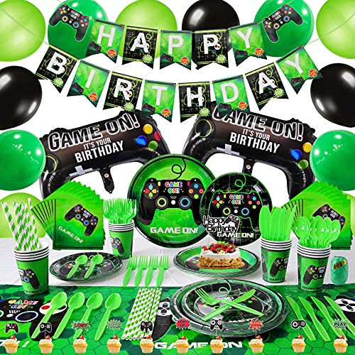 Video Game Party Supplies, Video Game Boy Birthday Decorations Party Balloons Premium Serves 16 Decoration Birthday Party Cutlery Bag Table Cover Plates Cups Napkins Straws Utensils Banner Much More