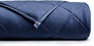 YnM Weighted Blanket (15 lbs, 48''x72'', Twin Size) for People Weigh Around 140lbs | 2.0 Cozy Heavy Blanket | 100% Cotton Material with Glass Beads, Navy