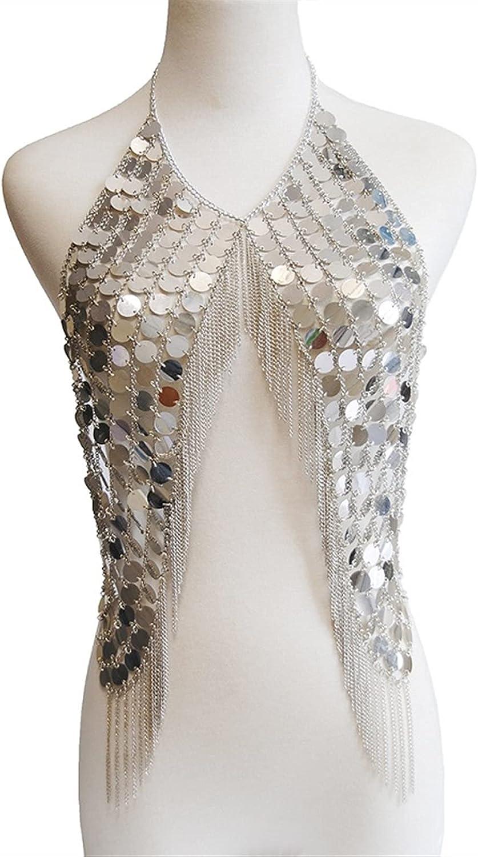 XYMJ Metal Sequins Tassel Body Ranking TOP5 Charlotte Mall Chain Bra Jewelry Necklace