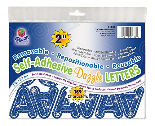 """Pacon 2"""" Self-Adhesive Uppercase Letters, 159-Count, Blue Dazzle (51686)"""