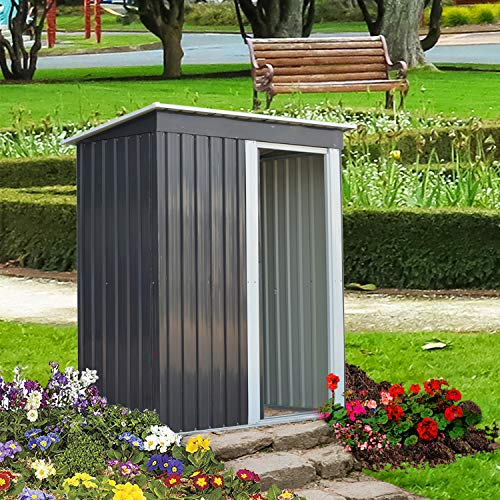 Doitpower 8' x 10' Outdoor Steel Garden Storage Utility Tool Shed Large Storage Space 544 Cubic Feet Gray