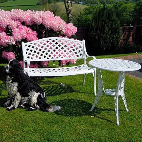 Lazy Susan - Jasmin Metallgartenbank - Weiß, Wetterfeste Gartenbank aus Aluminium | Garten | Aluguss | Rostfrei