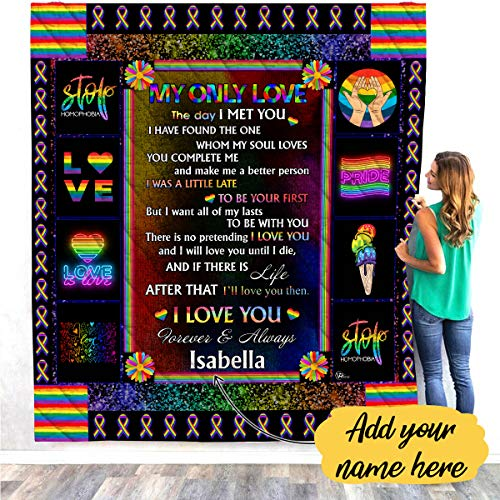 Rainbow Flag My Only Love Quilt Fleece Throw Blankets Comforter Tapestry Twin Queen Full King Size Christmas Birthday Gay Lesbian LGBT Pride Gifts for Couple Boyfriend Girlfriend Wife Men Women