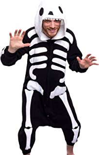 Silver Lilly Unisex Adult Pajamas - Plush One Piece Cosplay Skeleton Animal Costume