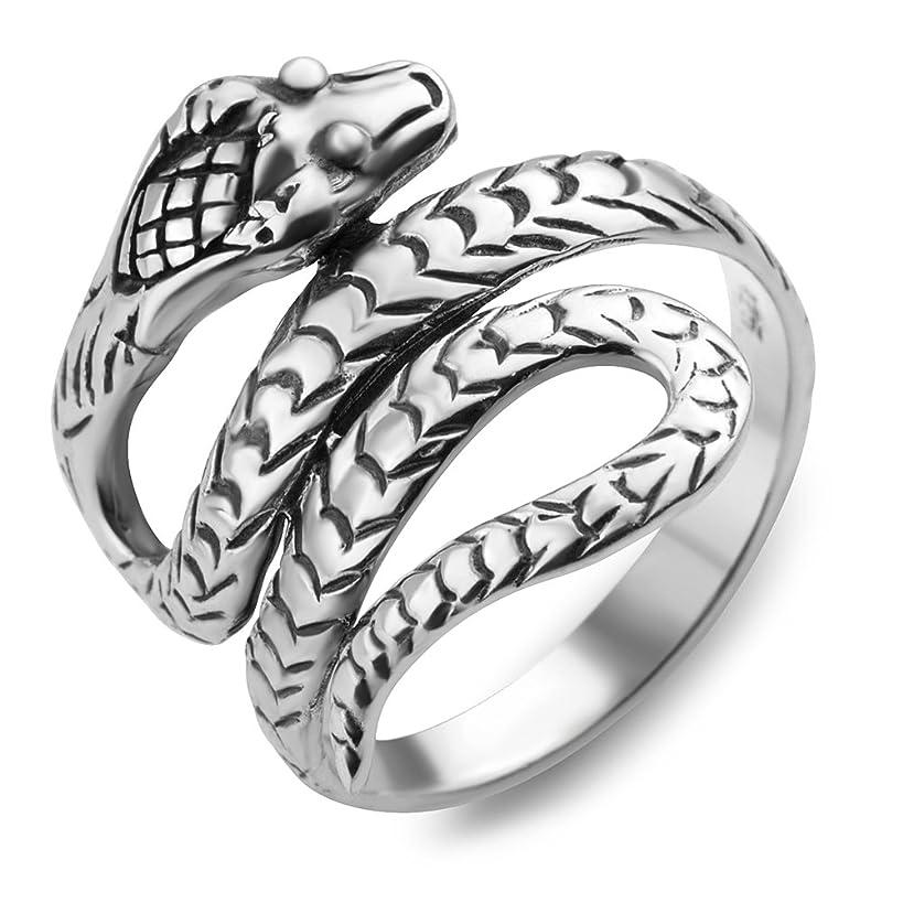 925 Oxidized Sterling Silver King Cobra Coil Snake Band Ring Men Women Unisex Size 6, 7, 8