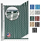 Fence Source Double-Double Bottom Locking Privacy Fence Slat (9 Colors) Double Wall Reinforced with Double Legs Inside - Available for 4', 5', 6', 7' and 8' Chain Link Fence (4 ft, Green)