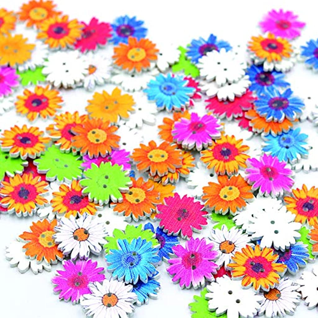 Mixed Spring Flowers Heart Shape Sewing Scrapbooking Wood Button DIY Wooden Buttons for Cloth (Spring Flower)
