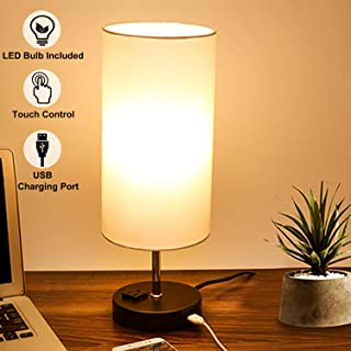 Touch Control Table Lamp, 3-Way Dimmable, Beside Nightstand Lamp with Quick USB Charging Port & AC Outlet, Fabric Shade Modern Lamp for Bedroom Living Room Guest Room, 7W E26 Edison LED Bulb Included