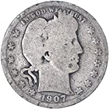 1907 S Barber Quarter 90% Silver Seller Good