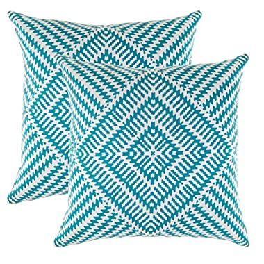 TreeWool, (2 Pack) Throw Pillow Covers Kaleidoscope Accent Decorative Pillowcases Toss Pillow Cushion Shams Slips Covers for Sofa Couch (16 x 16 Inches / 40 x 40 cm; Turquoise), White Background