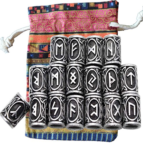 24pcs/Kit Norse Vikings Runes Beads for Beards Hair Paracord Pendants &Bracelets DIY