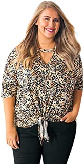 DADKA Womens Shirts Fashion V Neck Leopard Print Blouse Tops Shirt