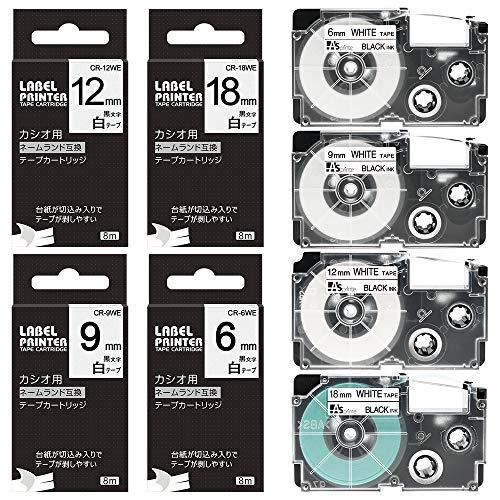 6mm 9mm 12mm 18mm 互換 白テープ カシオ ネームランド 黒文字 カートリッジ XR-6WE XR-9WE XR-12WE XR-18WE 各1個 白 4個セット