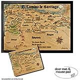 1art1 Camino De Santiago De Compostela, El Camino De Santiago Anno 1445, Jon Mellenthin Felpudo Alfombra (70x50 cm) + Alfombrilla para Ratón (23x19 cm) Set Regalo