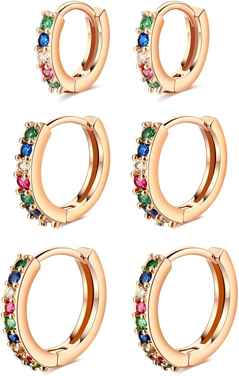3 Pairs Cartilage Earrings 20g Hoops-14K free shipping Helix Conch Gold Tragus Max 81% OFF