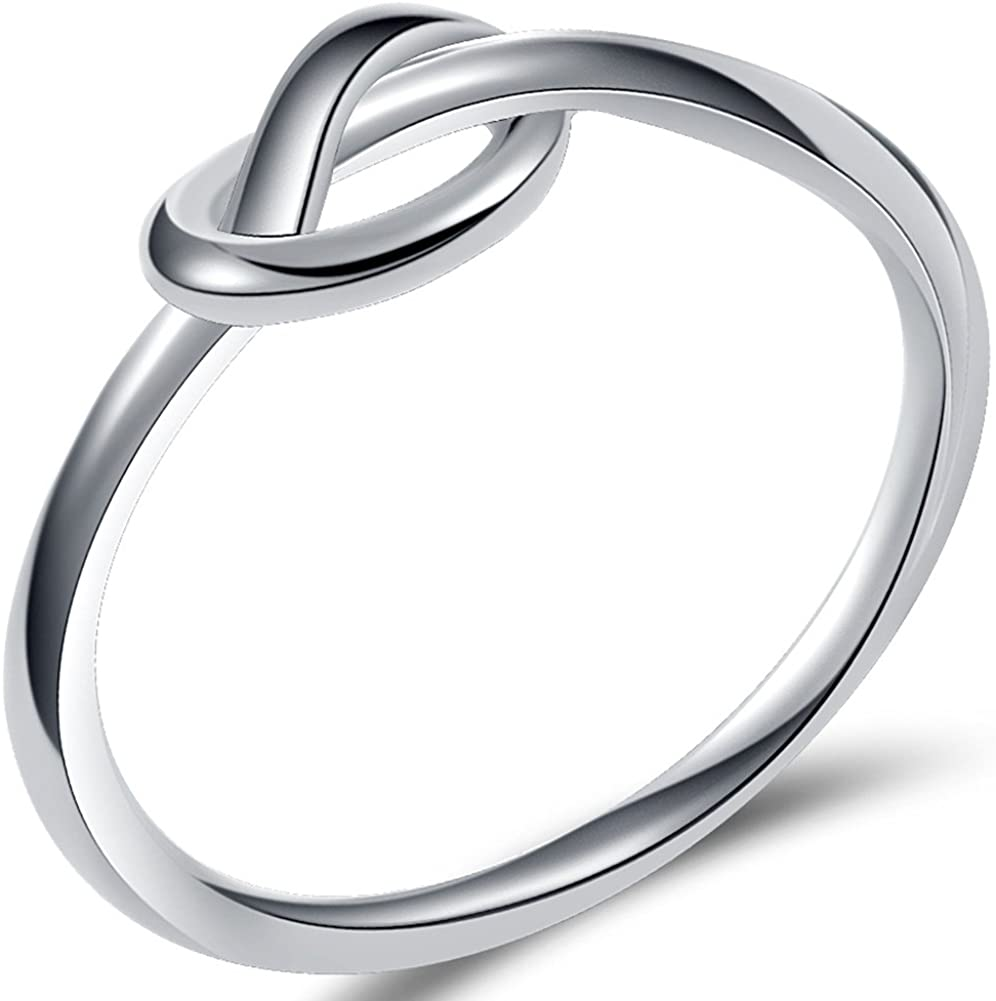 Size 3-13 Stainless Steel Simple Love Knot Celtic Promise Anniversary Statement Ring