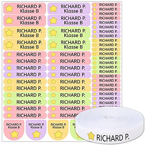 Pack 155 etiquetas personalizadas para marcar ropa y objetos. 100 Etiquetas de tela termoadhesiva + 55 etiquetas adhesivas de vinilo. (SHAPES)