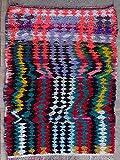 TRIBAL ART MOROCCO 200X100 cm 6'6' x 3'3' T39138 boucherouite, boucharouette, Moroccan Rugs, Berber Rugs