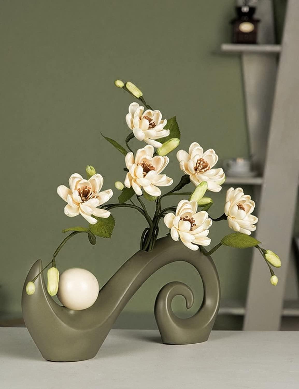 Decorazione artigianale - Semplicità creativa ceramica Vaso Fiori inseriti moderno Decorazioni domestiche Artigianato in sala, vasi + fiori - Migliore regalo