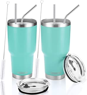 DYNAMIC SE Tumbler Double Wall Stainless Steel Vacuum Insulated Travel Mug with Splash-Proof Lid Metal Straw and Brush (30oz SET OF 2, Mint(2))