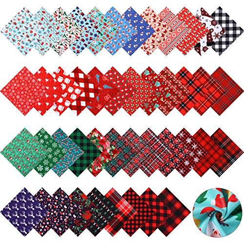 45 Piezas 10 x 10 Pulgadas Paquetes de Tela de Algodón de Navidad Restos Tela Estampada Cuadrada Precortada de Patchwork Costura Manualidades Tejido de Coser Acolchado para Calcetín Navidad Delantal