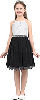 TiaoBug Kids Big Girls Sequin Floral Lace High Neck Dress for Wedding Bridesmaid Party Dance Dress