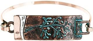 Rain Copper-Tone Patina Etched Tree Bangle Bracelet