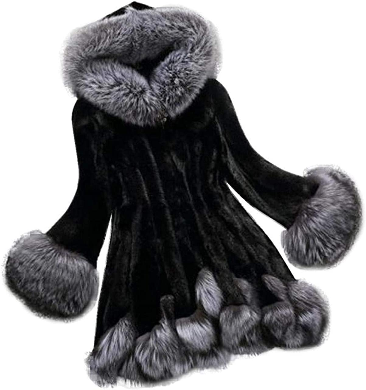 Plus Size Faux Fur Coat for Women Winter Warm Fur Lining Parka Soft Comfortable Hooded Party Jackets Outwear -