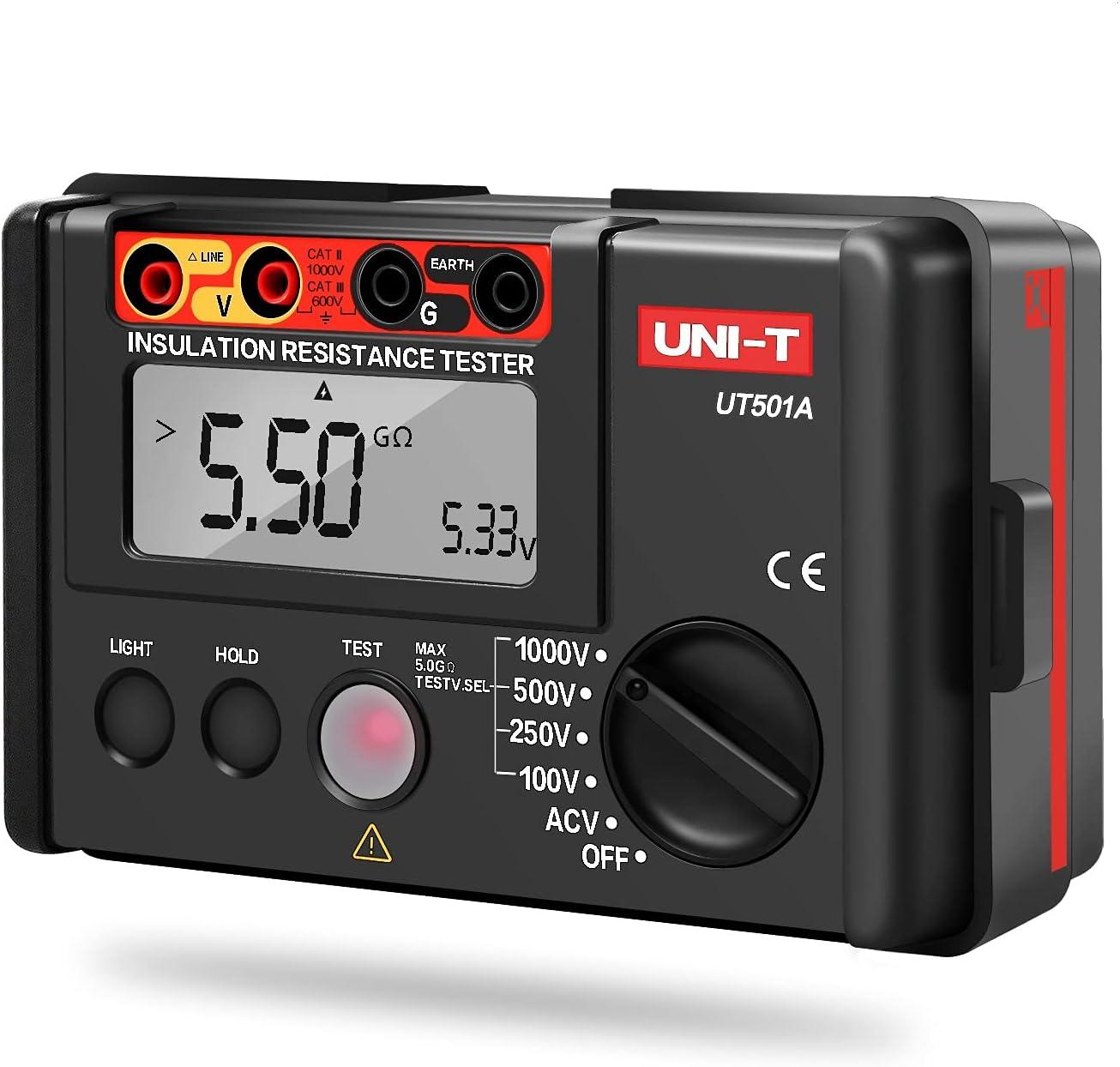 UT501A Megóhmetro Digital Medidor de Aislamiento de Tierra Probador de Resistencia + LCD Retroiluminación