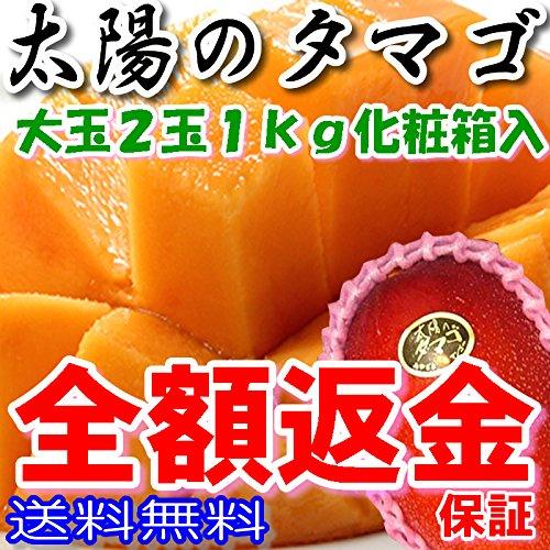太陽のタマゴ 秀品(贈答向け) 大玉2個 約1kg 化粧箱入 糖度15度以上 マンゴー