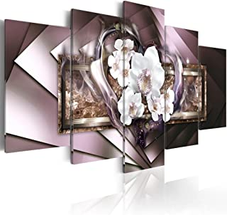 """Oversized Mirror Crystal Canvas Art Contemporary Wall Decor Orchid Flower Picture Print Painting 5 Piece White Floral Modern Heart Artwork Framed (80""""x 40"""", in Flames - Grey)"""