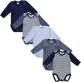 MEA BABY Unisex Baby Langarm Body aus 100% Baumwolle im 5er Pack, Baby Body mit Aufdruck, Baby Body für Mädchen, Baby Body für Jungen