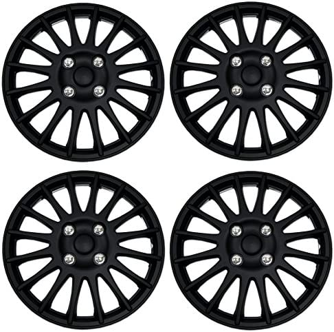 Tuningpros WC3 16 611 B Pack of 4 Hubcaps 16 Inches Style Snap On Pop On Type Matte Black Wheel product image